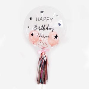 Customise Personalised helium rose gold confetti birthday party balloon with tassels 24 inch