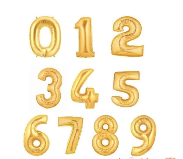 40 Inch gold Number Foil Balloons 0-9