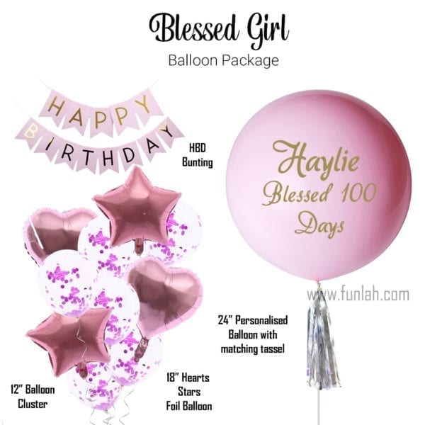 Funlah Balloon Package Baby Shower Blessed Girl