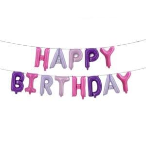 Funlah Happy Birthday Mix Pink 16 inch foil mylar hanging balloon decoration