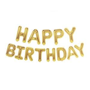 Funlah Happy Birthday Gold 16 inch foil mylar hanging balloon decoration