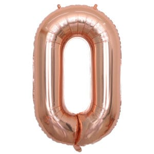 Funlah Rose Gold Number 0 Foil Mylar Balloon 32-35 inch
