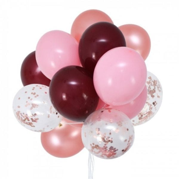 Funlah rose-gold-burgundy-party-balloon-bouquet