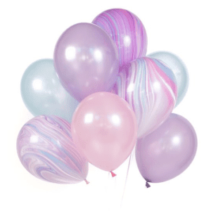 Unicorn helium floating marble pink purple birthday party balloon bouquet 12inch