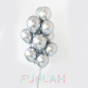 FUnlah balloon cluster Metallic Silver qualatex