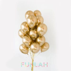 Funlah balloon cluster bouquet Metallic Chrome Gold
