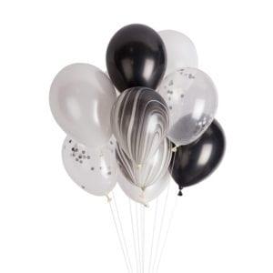 Funlah black marble latex balloon cluster