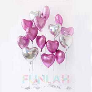 Funlah pinks silver hearts foil balloons