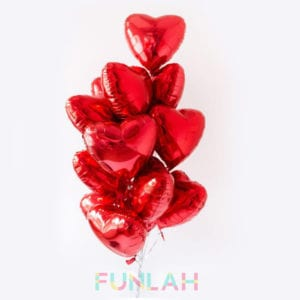 Funlah red hearts balloon foil cluster