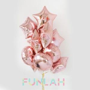Funlah rose gold star sphere foil balloons