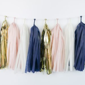 Happy Birthday Party Tassels Gold Blush Navy