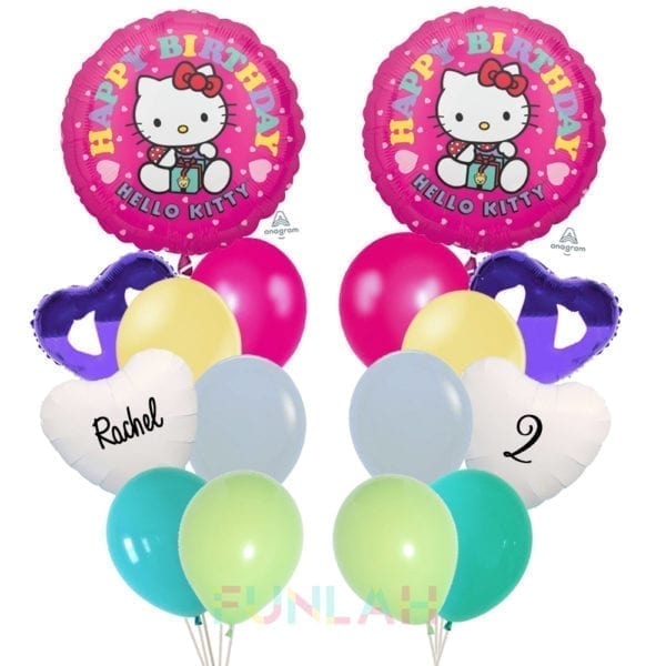 Balloon double cluster hello kitty birthday present foil balloons with hearts