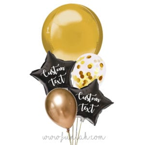 Funlah-Gold-Orbz-disco-ball with star balloon bouquet