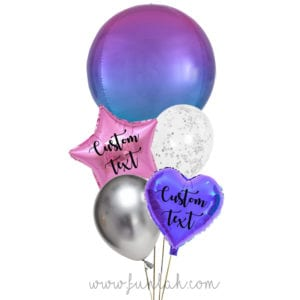 Funlah-Pink-Blue-Orbz-disco-ball with heart balloon bouquet
