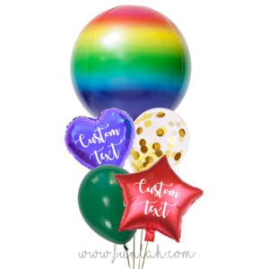 Funlah-Rainbow-Ombre-Orbz-disco-ball with heart balloon bouquet