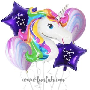 Funlah Rainbow Unicorn With Personalized Message Balloon Bouquet
