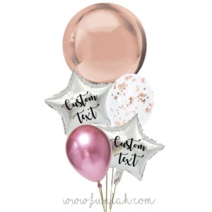Funlah-Rose Gold-Orbz-disco-ball with star balloon bouquet