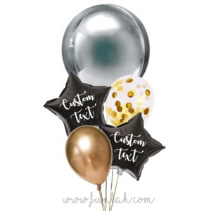 Funlah-Silver Gold-Orbz-disco-ball with star balloon bouquet