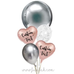 Funlah-Silver-Orbz-disco-ball with heart balloon bouquet