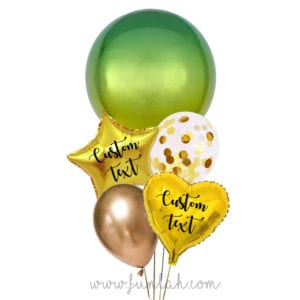 Funlah-Yellow-Green-Ombre-Orbz-disco-ball with heart balloon bouquet