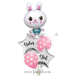 Funny Rabbit Baby Girl shower balloon bouquet