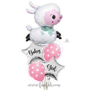 Lamby Baby Girl shower balloon bouquet