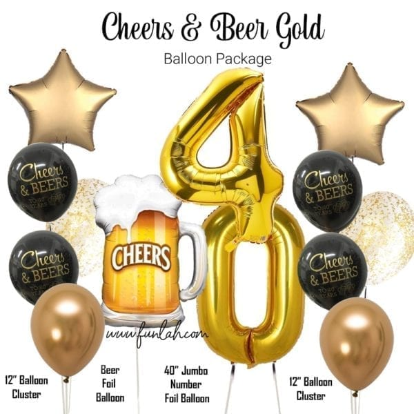 Cheers to Beer gold 40 years balloon package