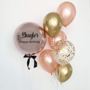 Personalized orbz with 6 balloon bouquet