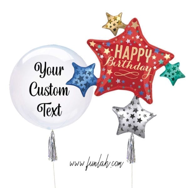 Crystal Clearz balloon bouquet Satin Stars