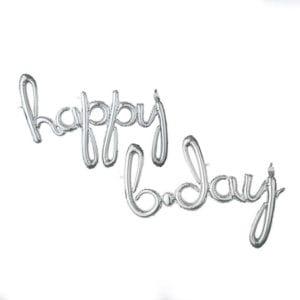 Cursive script Happy Birthday silver foil balloon