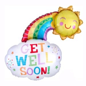 Get well soon rainbow helium foil balloon