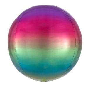 Ombre rainbow orbz foil balloon