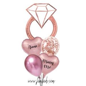 Funlah Rose Gold Diamond Ring proposal marry me foil balloon