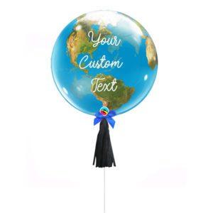 Globe Earth Bubble helium Balloon custom text