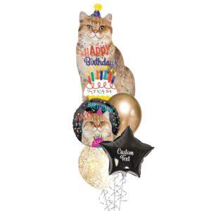 Cat Happy birthday Helium Balloon Bouquet