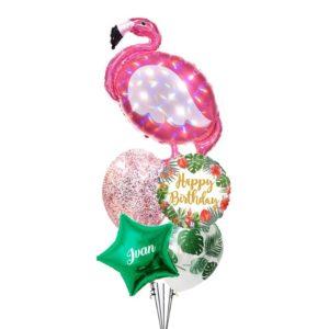 FLamingo Happy birthday holographic balloon bouquet