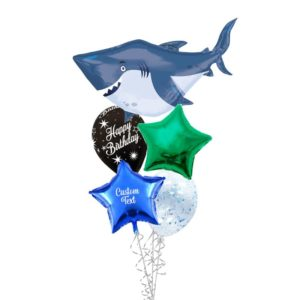 Grey Shark Birthday Helium Balloon Bouquet
