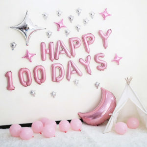 Happy 100 day foil balloon baby pink 16 inch