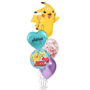 Pikachu Happy Birthday Foil Balloon Bouquet