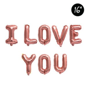 16 inch I love you rose gold foil balloon