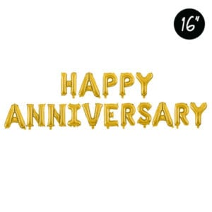 16 inch happy anniversary gold foil balloon