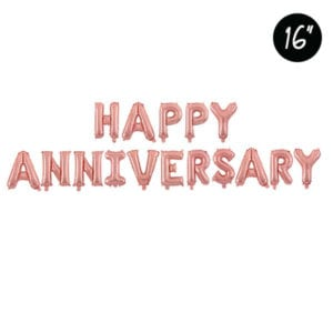 16 inch happy anniversary rose gold foil balloon