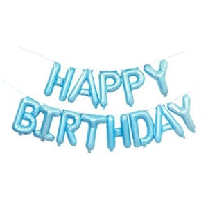16 inch happy birthday baby blue foil balloon