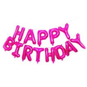 16 inch happy birthday fuschia foil balloon