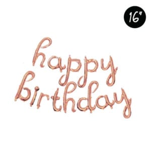 16 inch happy birthday rose gold cursive letter foil balloon