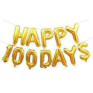 Happy 100 Days Gold Foil letter Balloon