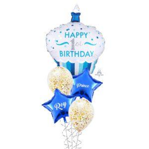 1st birthday blue cupcake balloon bouquet