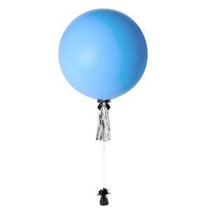 36 inch jumbo helium balloon baby blue with tassel