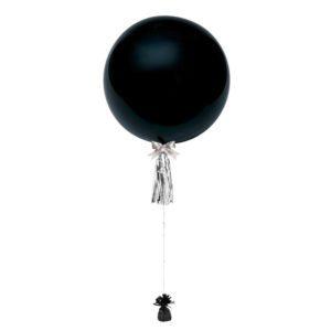36 inch jumbo helium balloon black with tassel