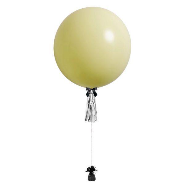 36 inch jumbo helium balloon pastel yellow with tassel